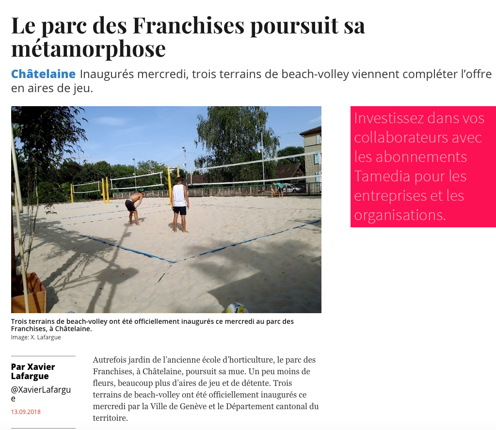 Le beach-volley s'implante au parc des Franchises