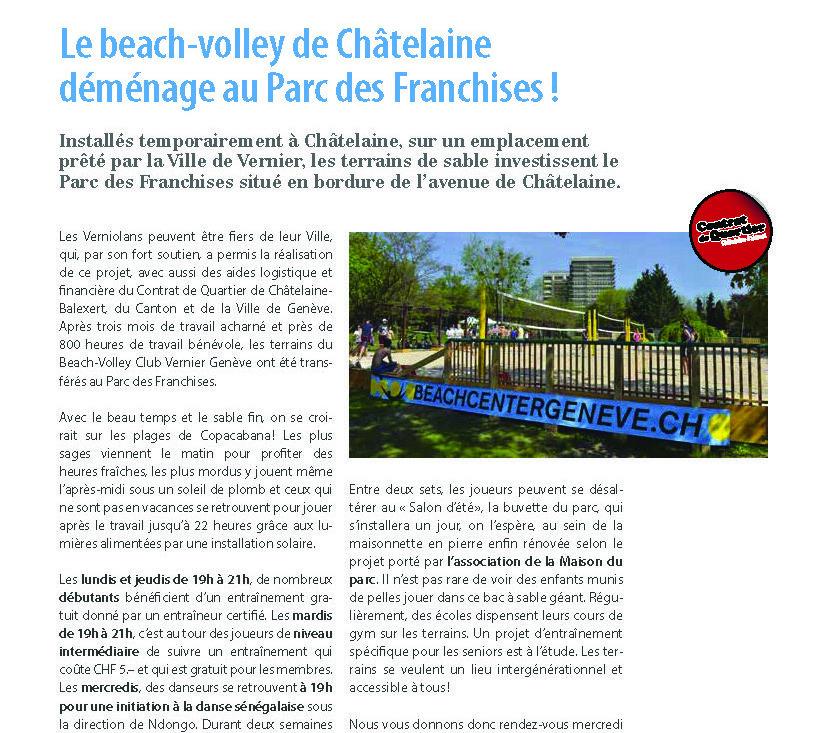 Article d'ActuVernier à propos des terrains de Beach-Volley de Chatelaine